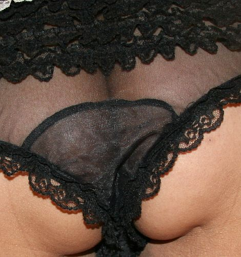 black ruffle panties